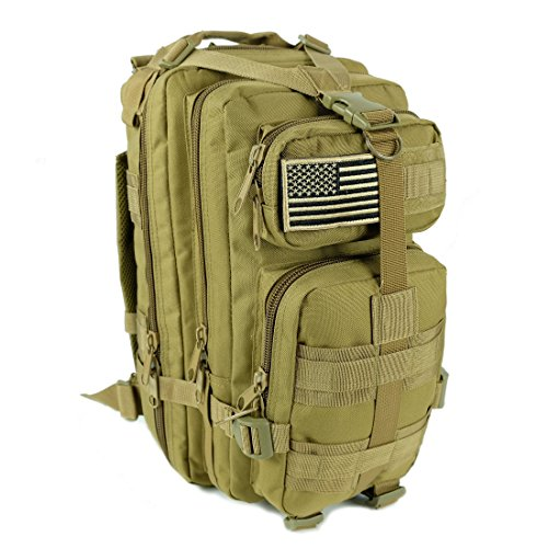 Military Tactical Backpack Army Combat 3 Day Assault Pack Molle Bug Out Bag Rucksacks for Outdoor Hiking Camping Trekking Traveling and Hunting with Flag Patches (TAN, - Sunglasses Military Issue
