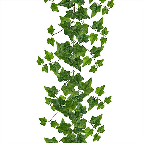 Supla 5.7' Long Artificial Needle Ivy Garland Faux Needlepoint Ivy Leaf Garland Wedding Greenery Backdrops Garland in Green for Tables Chairs Wedding Arches Spring Backyard