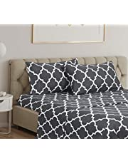 Home Beyond & HB design - 4-Piece Printed Bed Sheets Set (Queen Size, White Trellis) - Bedding Sheet Set with Deep Pocket - Super Soft Brushed Microfiber - Winkle and Fade Resistant, Easy Care