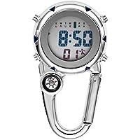Dan&Dre Multifunctionele Lichtgevende Clip op Carabiner Horloge Mini Quartz Horloge Kompas voor Outdoor Klimmen…