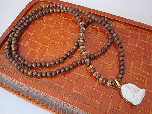 Sandalwood and Citrine Necklace with Buddha Pendant