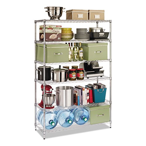 Alera ALESW664818SR Commercial Wire Shelving, Six-Shelf, 48w x 18d x 72h, Silver - Alera Wire Shelving Solutions