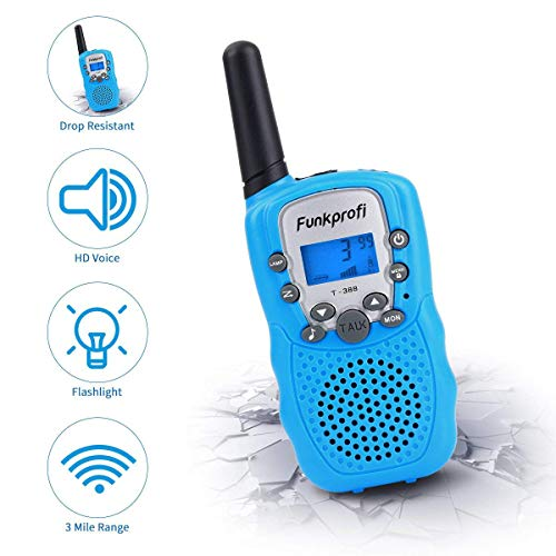 Funkprofi Walkie Talkies for Kids 22 Channels Long Range Rechargeable Walkie Talkies with Battery and Charger, Gift for Boys and Girls, 1 Pair (Blue) by Funkprofi (Image #3)