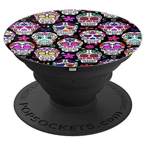 Colorful Sugar Skulls Mexican Design Flower Art on Black - PopSockets Grip and Stand for Phones and Tablets