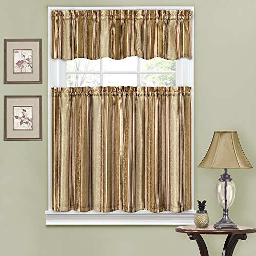 Traditions by Waverly 14317052036ANT Stripe Ensemble 52-Inch by 36-Inch Tier and Valance Set, Antique