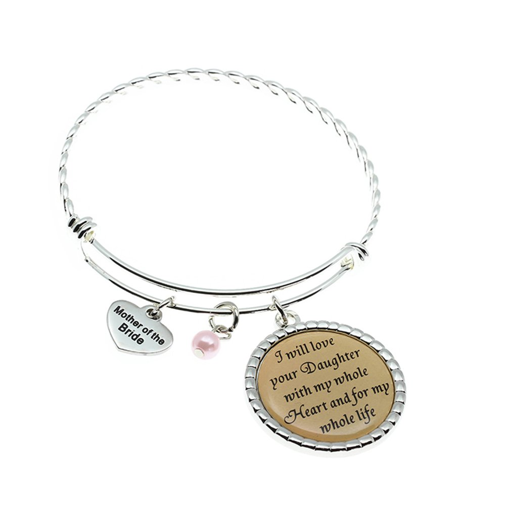 Mother of Bride Gift, I Will Love Your Daughter With My Whole Heart And For My Whole Life Bangle, Wedding Keepsake Gift for Mother in law.