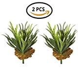 Angel Isabella Set of 2 Premium Quality 13inch Faux Staghorn Fern Bush Frosted Green Foliage 13 leaves