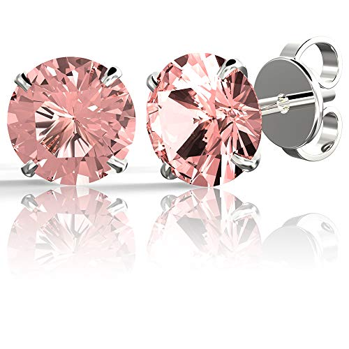 - .925 Sterling Silver Hypoallergenic Pink Cubic Zirconia Round Brilliant-Cut Stud Earrings, 8mm