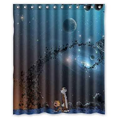 Bloomy Summer Calvin And Hobbes Christmas Gift Design Of Waterproof Bathroom Fabric Shower Curtain With 12Hooks (66X72Inch)