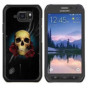 EJOOY---Cubierta de la caja de protección para la piel dura ** Samsung Galaxy S6Active Active G890A ** --Cráneo Rose Noche Espacio Death Stars