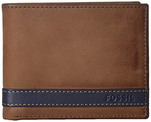 Fossil Men's Quinn Large Coin Pocket Bifold Wallet, Navy,4.5