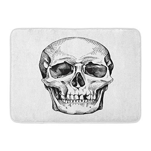 (YGUII Doormats Bath Rugs Outdoor/Indoor Door Mat Drawing Frontal of The Skull Scary Sketch Anatomy Black Bone Bathroom Decor Rug Bath Mat 16X23.6in (40x60cm))