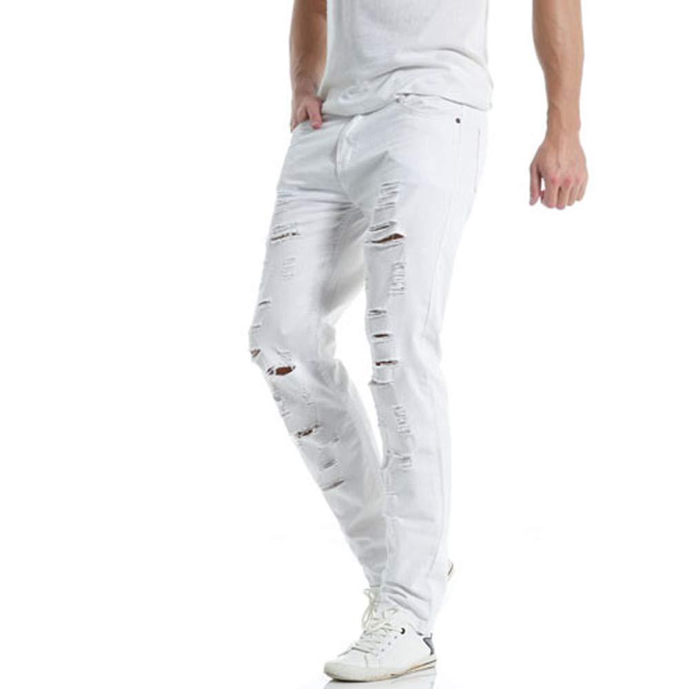 Wuluus Men's Ripped Hole Casual Pants Slim Fit Loose Zipper Jeans