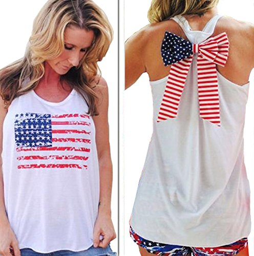 LaLaMa Women Sexy Bow American Flag Print Tee shirt USA Tank Tops S M L XL (Usa Flag Adult Tunic Costume)