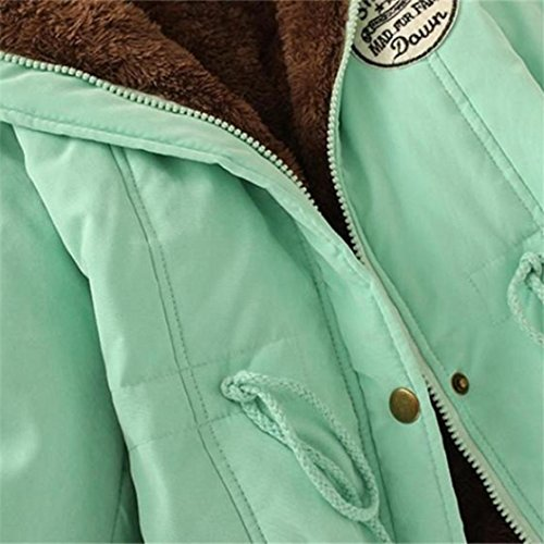 piel Chaqueta cuello y para Abrigo invierno de capucha Parka con mujeres mujer Outwear largo Manadlian de de Verde cálido Chaqueta w76xY8P6