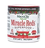 Product review for Miracle Reds Raw Organic Superfood| Powerful Gluten Free, Non GMO Fruit & Veggie Drink Powder| Contains List of Vital Reds including Digestive Enzymes, Tumeric, Probiotic, and Goji Berries