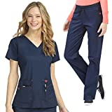 Med Couture Women's Flex-It Knit Panel Scrub Top & Flex-It Scrub Pant Set