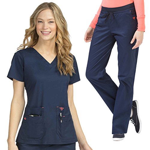 Med Couture Women's Flex-It Knit Panel Scrub Top & Flex-It Scrub Pant Set by Med Couture