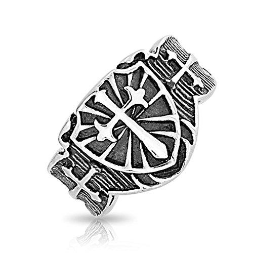 (Mens Religious Viking Shield Maltase Fleur De Lis Cross Signet Band Ring for Men Oxidized Silver Tone Stainless Steel)