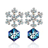 Change Color Earring PLATO H Snowflake Earrings with Swarovski Crystals Fashion Snow Flower Earrins Gifts, Bermuda Blue