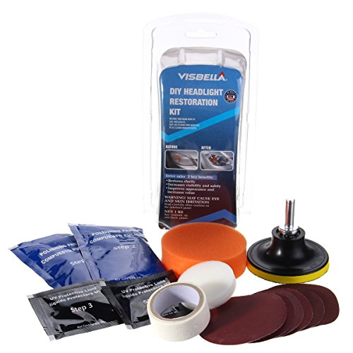 MeiBoAll Headlight Restoration Kit,Headlamps Cleaning and Polishing Tools for Car Motorcycle by