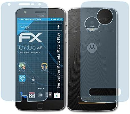 atFoliX Lámina Protectora de Pantalla Compatible con Lenovo Motorola Moto Z Play Película Protectora, Ultra Transparente FX Lámina Protectora (Set de 3): Amazon.es: Electrónica