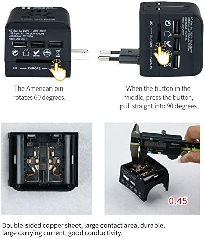 ANLIN 1 Piece World Travel Adapter Universal Power Adapter Charger Worldwide Adaptor UK US EU AUS Plugs Sockets Converter for Mobile Phone