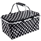 Collapsible Picnic Basket Bag Market Cooler Shopping Basket with Handle, Black Dots