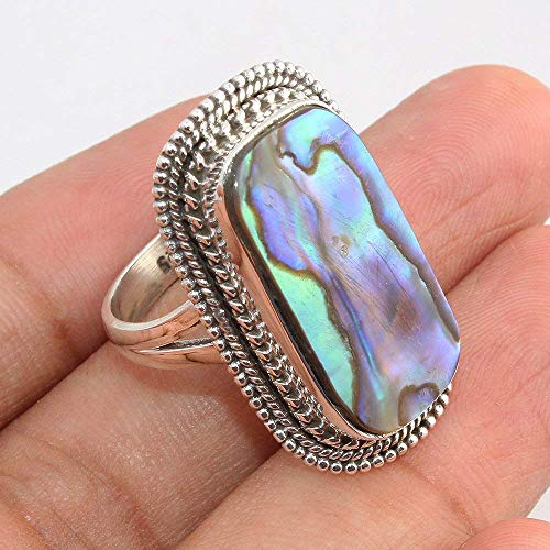 Abalone Shell Gemstone - Abalone Shell Gemstone 925 Sterling Silver Rings Jewelry