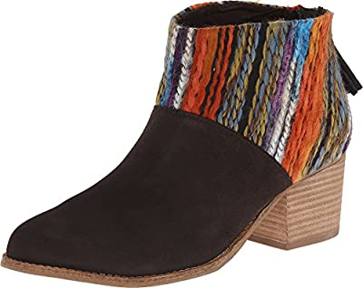 TOMS Leila Chocolate Suede Multi Textile Booties 10006207 Womens 8.5