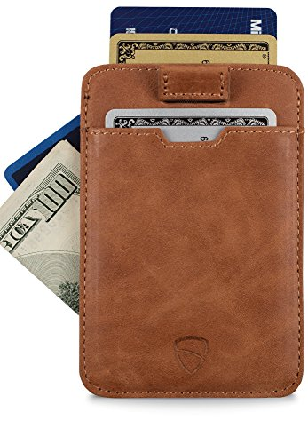 Chelsea Slim Card Sleeve Wallet with RFID Protection by Vaultskin - Top Quality Italian Leather - Ultra Thin Card Holder Design For Up To 10 Cards (Cognac)