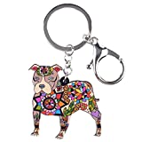 Bonsny Acrylic Pit Bull Dog Key Chains Keyrings for Women Gifts Teens Kids Car Purse Handbag Charm Jewelry (Brown)