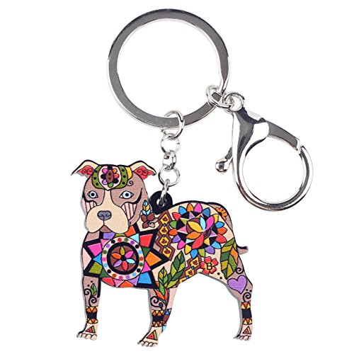 Bonsny Acrylic Pit Bull Dog Key Chains Keyrings for Women Gifts Teens Kids Car Purse Handbag Charm Jewelry (Brown) from BONSNY
