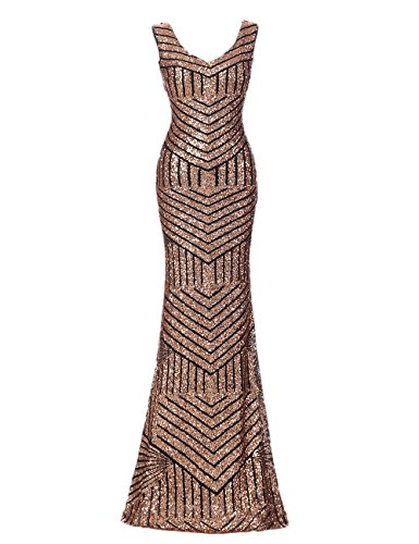 Sequin Formal Gown - OYISHA Women's Scoop Neck Long Sequins Mermaid Evening Dress Formal Gowns Gold 8