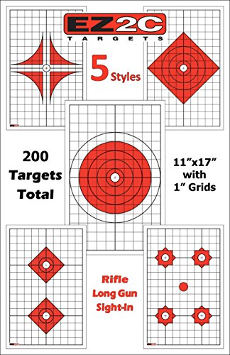 EZ2C Complete Rifle or Pistol Shooting Pack | High Visibility | For Long Range Precision Shooting | Long-Range Rifle Paper Targets | Improve Accuracy And Precision (200 Pack - 5 Styles) | 11