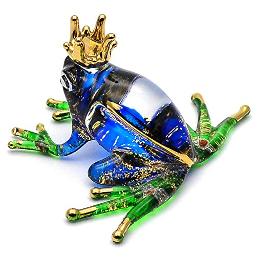 Zoo Craft Hand Blown Glass Figurine Blue Crown Frog Handmade Miniature Animal Art