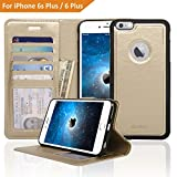 Navor ZEVO-D Slim Light Premium Wallet Case with Magnetic Detachable Cover for iPhone 6 Plus / 6S Plus [5.5 Inch] - Gold (IP6P1LGD)