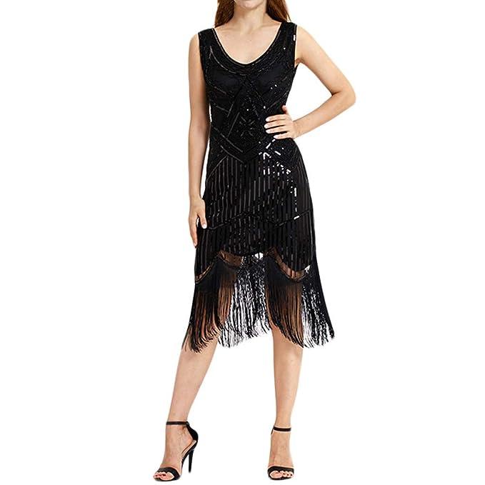 6399c9d54e1c Vovotrade❀ Abito da Cocktail con Frange Vintage da Donna alla Moda Gonna  Sottile con Paillettes e Paillettes  Amazon.it  Abbigliamento