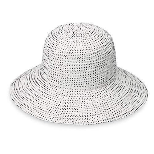 (Wallaroo Hat Company Women's Petite Scrunchie Sun Hat – White/Black Dots – UPF 50+)