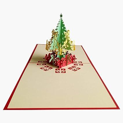 Tarjeta De Felicitación 3d Con Diseño De árbol De Navidad