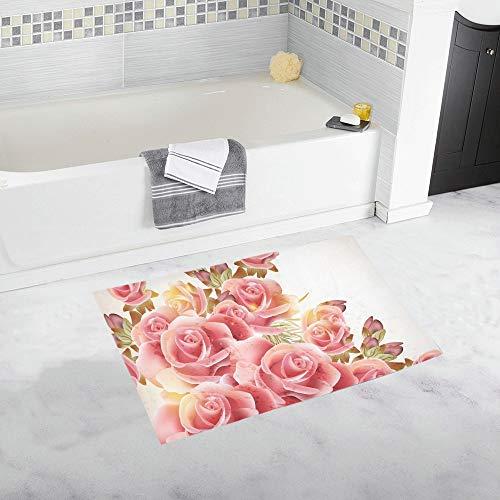 Cute Pink Roses Vintage Style Custom Non-Slip Bath Mat Rug Bath Doormat Floor Rug for Bathroom 20 X 32 Inch