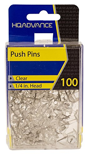 HQ Advance Products Boxable Push Pins, Clear, 100-count Box (34004)