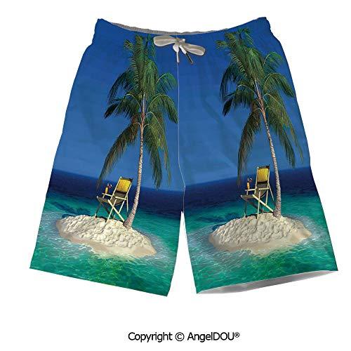 AngelDOU Quick Dry Mesh Thin Printed Men Beach Shorts,Burnt Orange,Classic Baroq