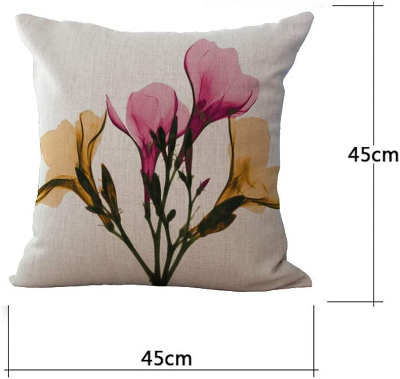 Seven Hitech 4 Packs Vintage Style Flowers Pattern Pillow Covers Cotton Linen Cushion Cover 18 X 18 Square Decorative Throw Pillow Case For Home Sofa Bedding Decoration Bedding Linen Decorative Pillows