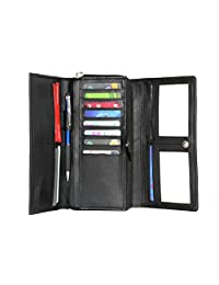 Ashlin Smart Phone Organizer Wallet Genuine Leather Cashmere Lambskin Napa Ladies Clutch Tri-Fold Wallet with 14 Card Pockets 2 Identity pockets Zippered Double Gusset Section [l7902-07-01]
