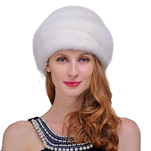 URSFUR Women's Mink Fur Romona Roller Hat with Mink Top (White)
