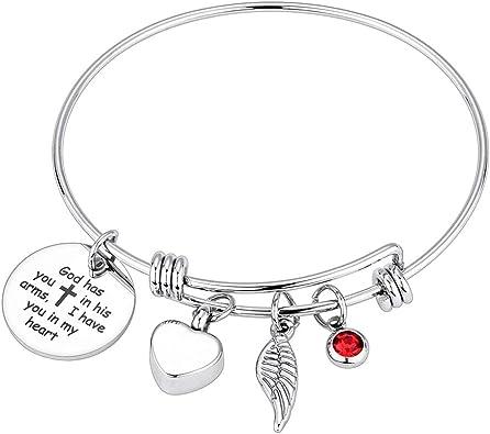 Keepsake Memorial Cremation Jewelry Angel Wing Urn Cremation Bracelet Silver Angel Wing Urn Charm Bracelet Ashes Urn Bracelet