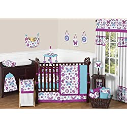 Sweet Jojo Designs Spring Butterfly Garden Baby Bedding 9pc Girl Crib Set