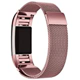 For Fitbit Charge 2-Milanese Loop Stainless Steel Metal Bracelet Strap with Unique Magnet Lock, No Buckle Needed for Fitbit Charge 2 HR Fitness Tracker