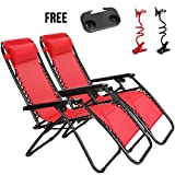 Idealchoiceproduct 2-Pack Zero Gravity Outdoor Lounge Chairs Patio Adjustable Folding Reclining Chairs With Free Cup/Drink Utility Tray & Cell Phone Holder - Red Color, 2pcs